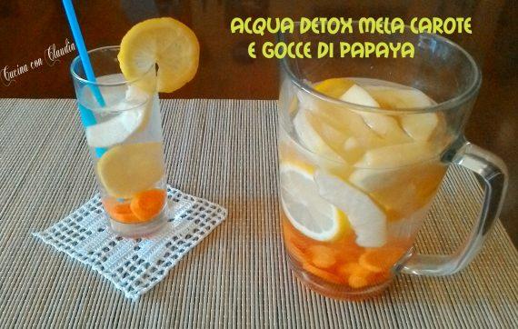 Acqua detox male carote e gocce di papaya