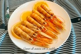 Gamberi all arancia cotti in padella