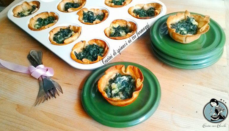 Cestini di spinaci ai tre formaggi