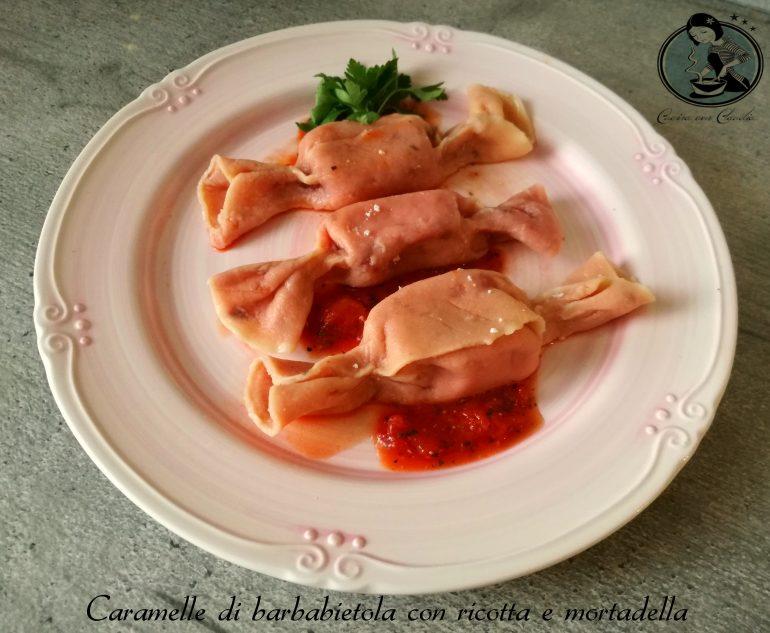 Caramelle di barbabietola con ricotta e mortadella