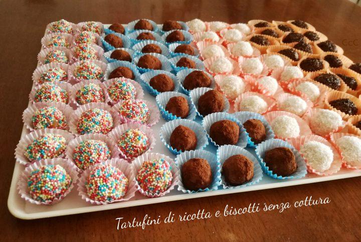 Tartufini di ricotta e biscotti senza cottura